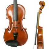 partial front and side views of violin