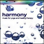 Harmony CD original cover art, silver and blue bubbles on white background, sub-title 'music for yoga and healing therapy'