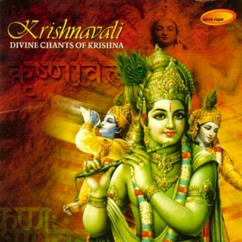 CD cover art, Shri Krishna playing flute and blowing conch