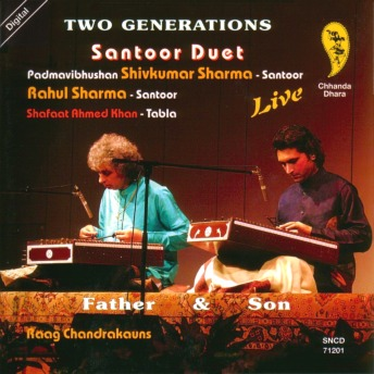 Pandit Shivkumar Sharma and son Rahul sitting on stage, playing santoors